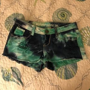 Mossimo supply tie dye jean shorts.